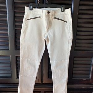 Rag and Bone Cream Jeans with flat front zippers